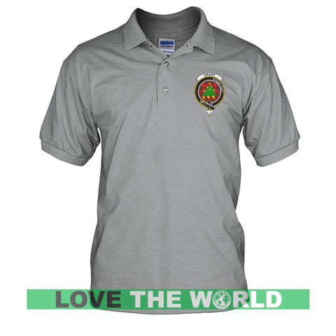 Image of Grant Badge Men Tartan Polo Shirt | Over 300 Clans Tartan | Special Custom Design | Love Scotland