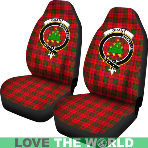 Image of Grant Clan Badges Tartan Car Seat Cover Ha5