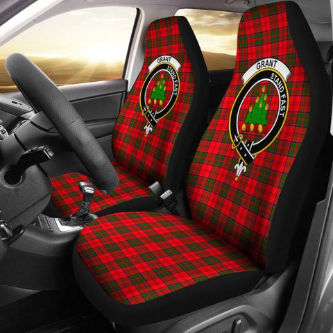 Grant Tartan Car Seat Cover - Clan Badge