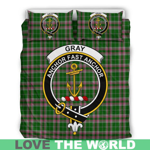 Image of Gray Hunting Tartan Clan Badge Bedding Set Ha9 Bedding Set - Black Black / Queen/full Sets