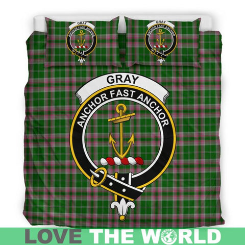 Gray Hunting Tartan Clan Badge Bedding Set Ha9 Bedding Set - Black Black / Queen/full Sets