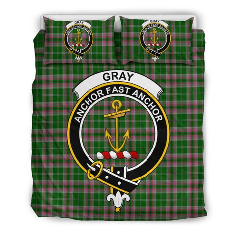 Gray Hunting Clan Badge Tartan Bedding Set Ha9 Bedding Set - Black Black / Queen/full Sets