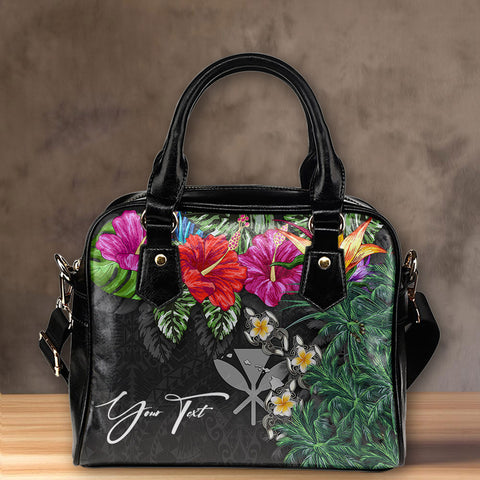 (Custom) Kanaka Maoli (Hawaiian) Shoulder Handbag - Hibiscus Turtle Tattoo Gray Personal Signature A02