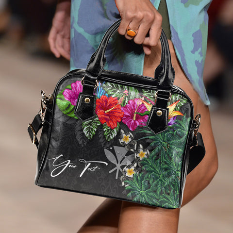 Image of (Custom) Kanaka Maoli (Hawaiian) Shoulder Handbag - Hibiscus Turtle Tattoo Gray Personal Signature A02