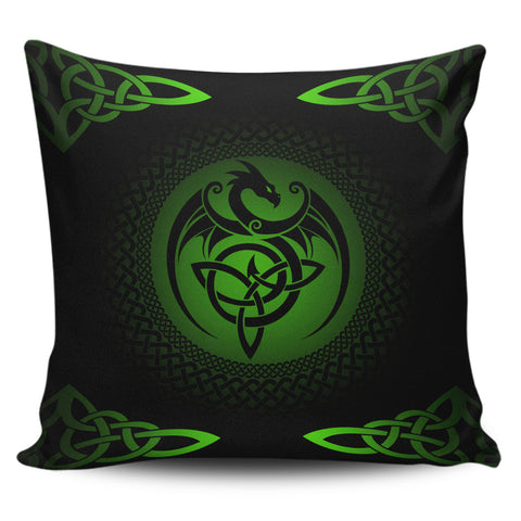 Celtic Pillow Cases - Celtic Dragon Zippered Pillow - Green | 1sttheworld