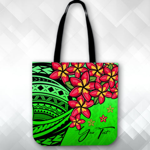 Image of (Custom) Polynesian Plumeria Green Tote Bag Personal Signature A24