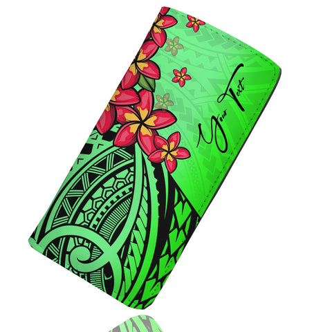Image of (Custom) Polynesian Plumeria Green Wallet Women Personal Signature A24