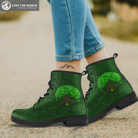 Celtic Tree Of Life Leather Boots For Men And Woman - celtic boots, tree of life, celtic tree, leather boots, boots, online shopping, footwear