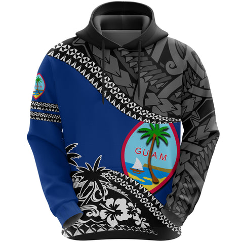 Guam Hoodie Fall In The Wave - Blue Color - Front