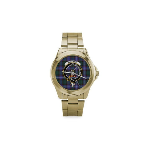 Guthrie Modern Tartan Clan Badge Custom Gilt Watch | 1sttheworld.com