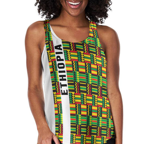 Image of 1stTheWorld Ethiopia Racerback Tank, Ethiopia Stripe African Pattern A10