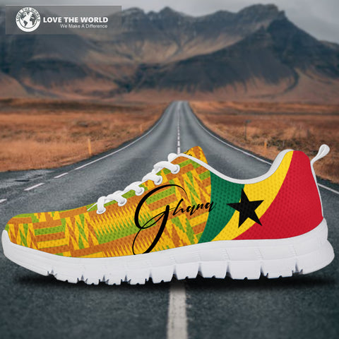 1stTheWorld Ghana Sneakers, Ghana Coat Of Arms Pattern (Custom) A10