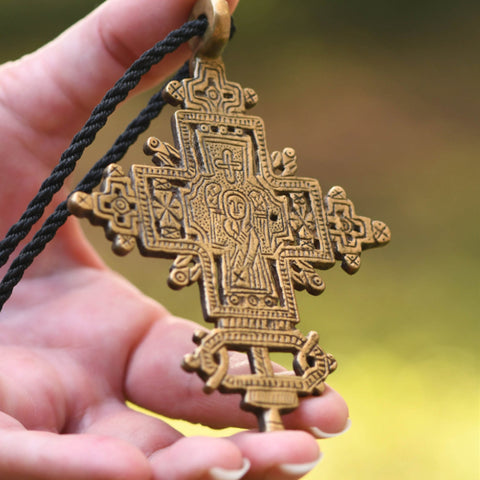 Ethiopia Pendant Coptic Cross Jesus Angel, Jewelry Supplies African A10