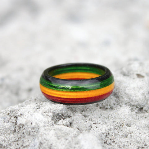 Rastafari Jewelry Unique, Rasta Color Wooden Rings Reggae Unique Bright for Men and Women A10