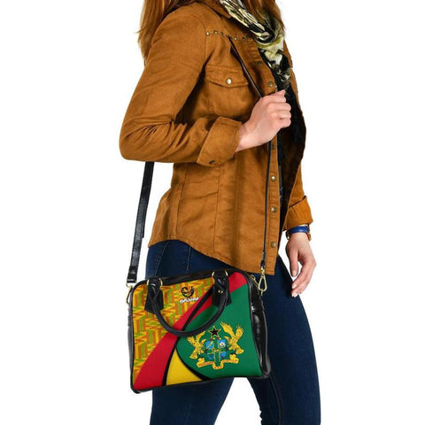 1stThewWorld Ghana Shoulder Handbag, Ghana Coat Of Arms Pattern A10