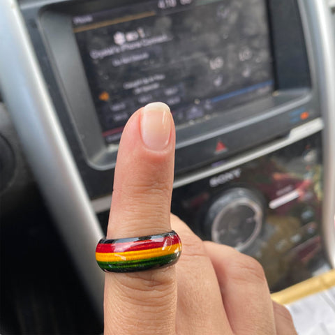 Image of Rastafari Jewelry Unique, Rasta Color Wooden Rings Reggae Unique Bright for Men and Women A10