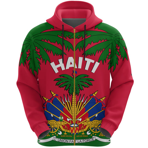 Image of Coat of Arms Haiti Zip Hoodie - Le Marron Inconnu | Clothing