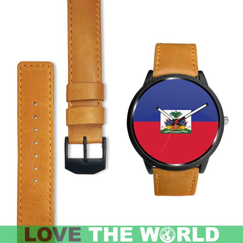 Haiti Flag Leather/steel Watch P1 Mens 40Mm / Brown Leather-Steel Watches