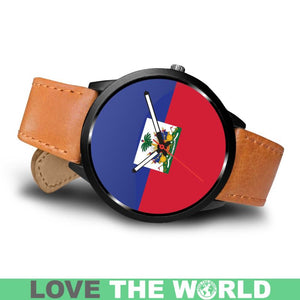 HAITI FLAG LEATHER/STEEL WATCH P1