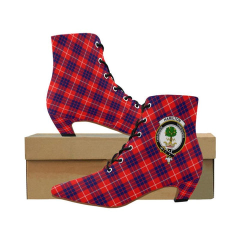 Image of Hamilton Modern Tartan Pointed Toe Low Heel Boots Tk1
