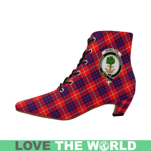Hamilton Modern Tartan Pointed Toe Low Heel Boots Tk1 Booties