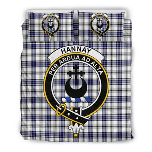 Hannay Clan Badge Tartan Bedding Set Th1 Bedding Set - Black Black / Queen/full Sets