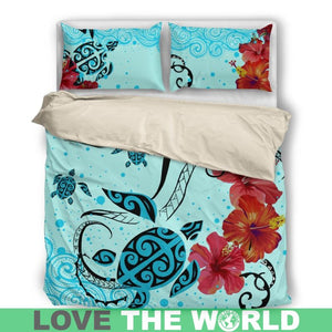 Hawaiian Sea Turtle Bedding Set And Two Pillow Covers H4