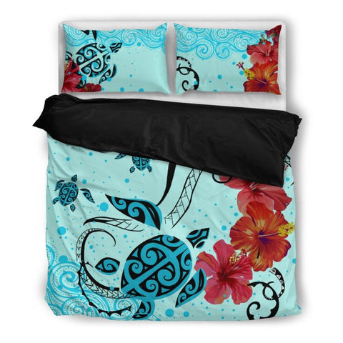 Image of Hawaii Sea Turtle Bedding Set H4 Bedding Set - Black / Twin Sets