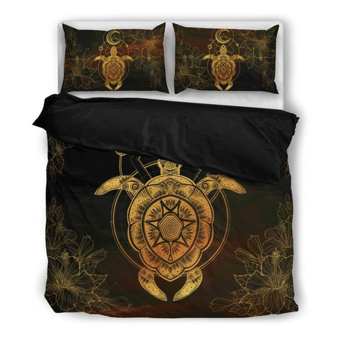 Hawaii- Turtle 01 Bedding Set Ha8 Bedding Set - Black Black / Twin Sets