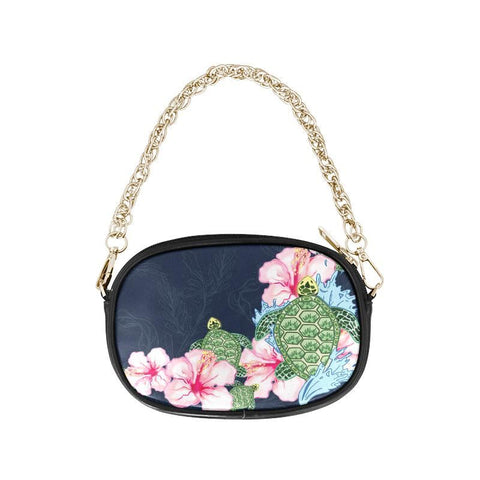 Image of Hawaii Turtle Hibiscus One Side Chain Purse S12 One Size / Black Purses