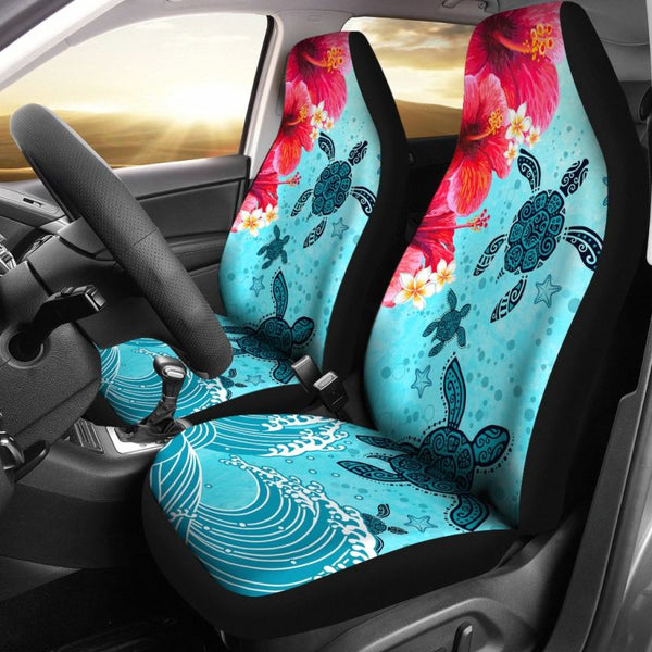 Turtle Sea And Hibiscus Hawaiian Car Seat Covers Set Of
