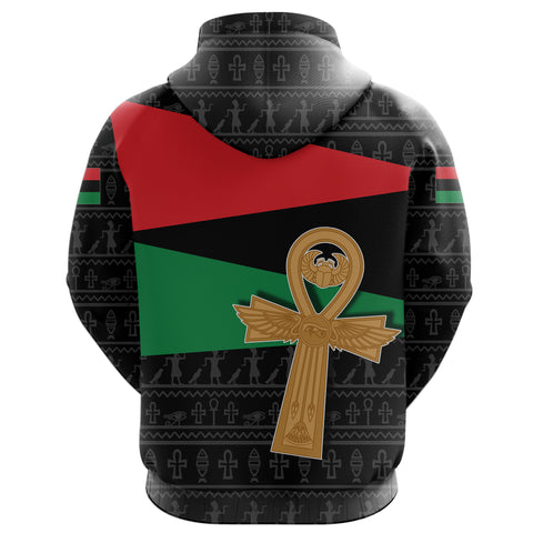 Image of Pan African All Over Hoodie Flag With Ankh TH4