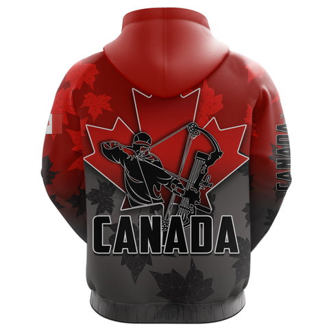 Canada All Over Zip-Hoodie Archery With Maple Leaf TH4
