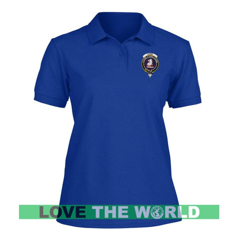 Image of Home (Or Hume) Badge Women Tartan Polo Shirt | Over 300 Clans Tartan | Special Custom Design | Love Scotland