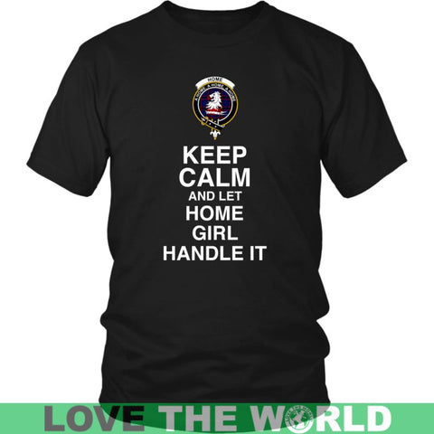 Home (Or Hume) Tartan Keep Calm Girl T-Shirt S2 Gildan Womens T-Shirt / Black S T-Shirts