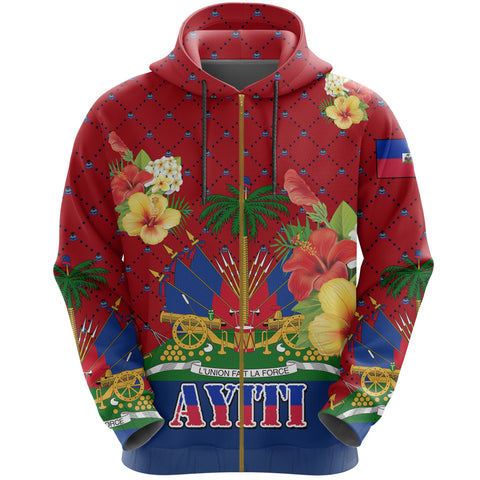 Image of Haiti Zip Hoodie - Coat of Arms Hibiscus Plumeria Red | Love The World