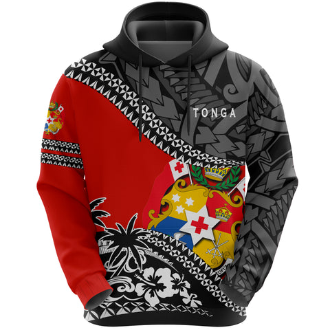Image of Tonga Hoodie Fall In The Wave - Red Color - Front