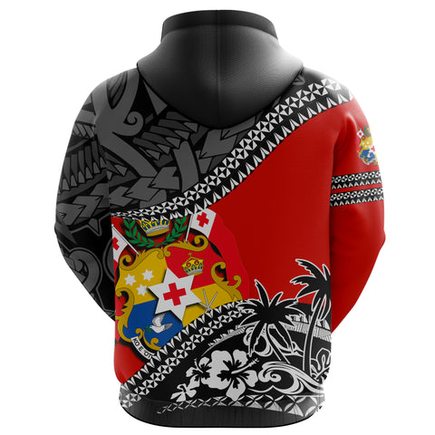 Image of Tonga Hoodie Fall In The Wave - Red Color - Back