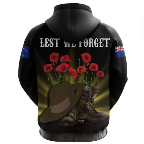 New Zealand Anzac Day Zip Hoodie -  Lest We Forget Hat And Boots Poppies A24