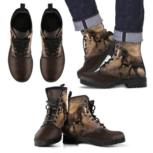 Horses 01 Leather Boots Mens Leather Boots - Black Mens / Us5 (Eu38)