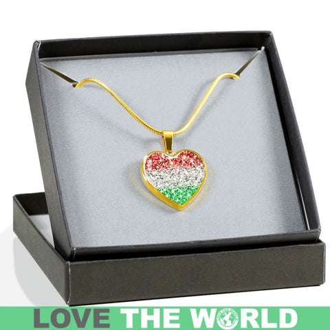 Hungary Flag Sparkling Heart ( Necklace And Bangle) F1 Luxury Necklace (Silver) Jewelries