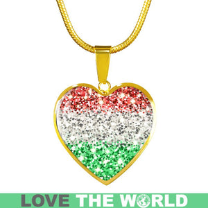 Hungary Flag Sparkling Heart-Shaped  ( Necklace/Bangle) A2