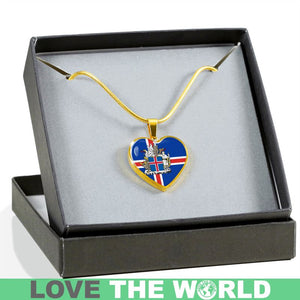 ICELAND COAT OF ARM GOLDEN HEART JEWELRY HA8