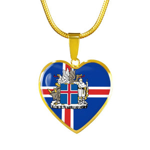 Iceland Coat Of Arm Golden Heart Jewelry Ha8 Luxury Necklace (Gold) Jewelries