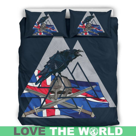 Iceland Flag Raven, viking bedding set, viking duvet cover, viking symbols, ciking raven