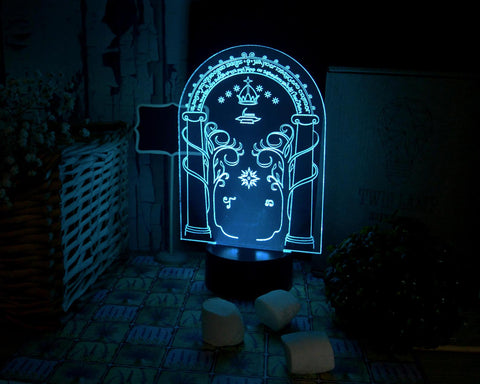 Image of Moria gates LED 3d lamp, The Doors Of Durin, Hobbit, Lord of the ring Tolkien home comfort gift decor