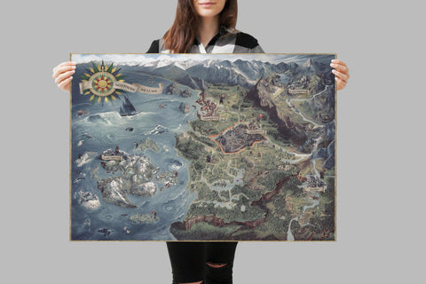 THE WITCHER 3 MAP Print, Witcher Poster, Handmade Wall Print, Living Room Decor, Witcher Artwork, Wall Art Classic