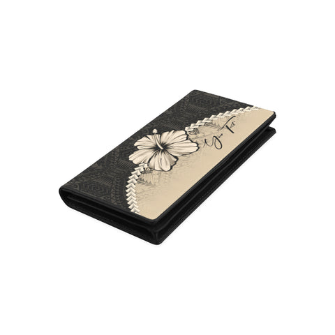(Custom) Polynesian Womens Wallet Hibiscus Personal Signature A02