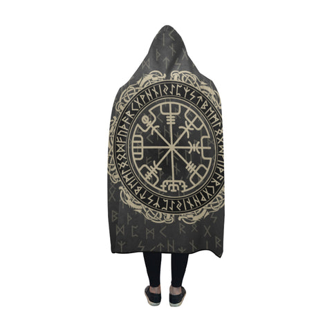 Magical runic compass Vegvisir Viking - Hooded Blanket NN6
