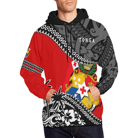 Image of Tonga Hoodie Fall In The Wave - Red Color - For Men